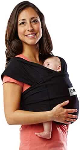 Baby K'tan Original Baby Wrap Carrier, Infant and Child Sling - Simple Wrap Holder for Babywearing - No Rings or Buckles - Carry Newborn up to 35 lbs, Black, Women 6-8 (Small), Men 37-38