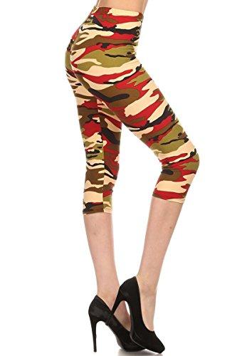 Capri Print Leggings Orange Army Camouflage (CA-N350)