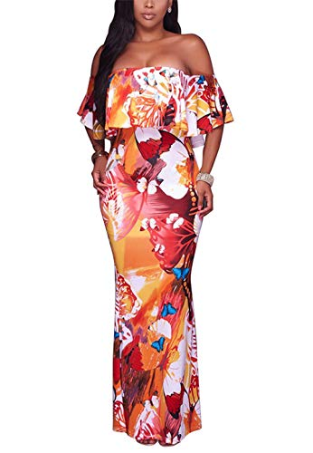 Suimiki Vintage Ruffle Plain Floral Printed Off Shoulder Bodycon Long Party Maxi Dress Orange A Small