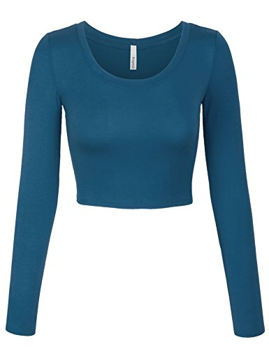 (KOGMO Womens Long Sleeve Basic Crop Top Round Neck with Stretch -L-TEALBLUE)