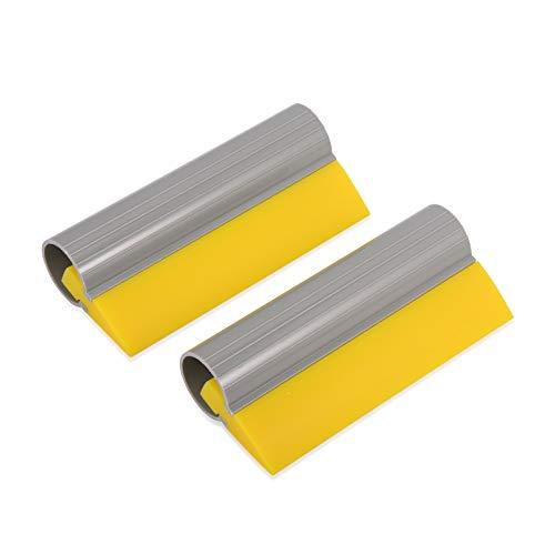 (WINJUN 5.5 Inch Length Yellow Rubber Vinyl Window Squeegee Water Wiper Glass Scraper with Non-Slip Handle, Pack of 2)