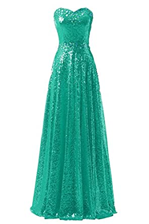Ysmo Womens Bling Sequin Prom Dresses Long For Evening Party
