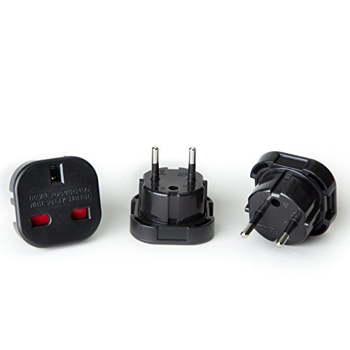 - OREI GP-021 Continental UK 3-Pin To Schuko European 2-Pin Grounded Travel Adapter Plug - 3 Pack