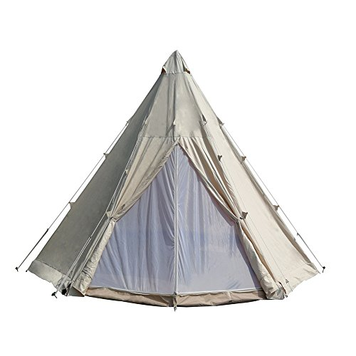 Dream House Waterproof Cotton Canvas Family Camping Indian Teepee Tent (Beige Cotton Canvas, Diameter 4M/13.1FT)