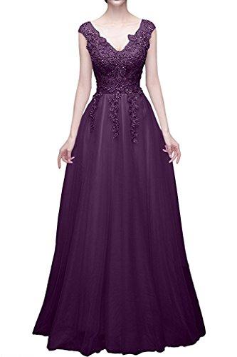 Glamour Traube Rot Marie Brautmutterkleider Spitze mit Promkleider La Braut Lang A Prinzess Abendkleider Linie ftUw6aaOq