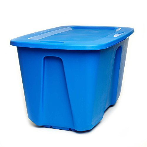 Stack Tote Lids - Homz Plastic Storage Tote with Lid, 32 Gallon, Blue, Stackable, 2-Pack