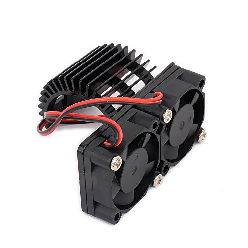Vent Twin - RCAWD Heat Sink Heatsink with Twin Fan Cooling Side Vent 540/545/550 N10074 Size Motor JST Alloy Aluminum for 1/10 RC Model Car HSP(Black)
