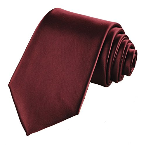 KissTies Burgundy Solid Satin Tie Mens Necktie Wedding Ties + Gift Box