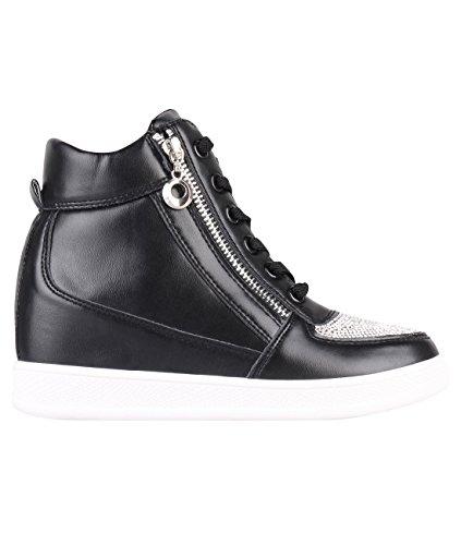 Hoge Schoenen Met Hoge Hak, Hoge Hak, Hoge Hak, Krisp Dames Lage Schoenen Met Veterschoenen, Zwarte Schoenen, Zwart (5800)