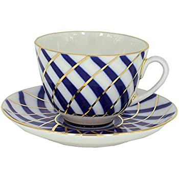 Lomonosov Porcelain Tea Set 2pc Cup and Saucer Todes 7.8 oz/230 ml
