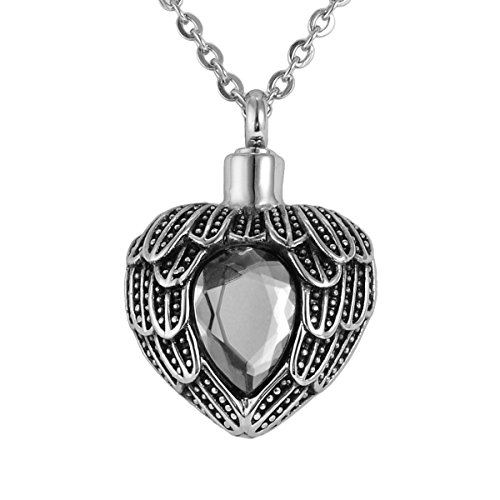 Valyria Angel Wing Birthstone Memorial Urn Necklace Stainless Steel Waterproof Cremation Jewelry,White(April)