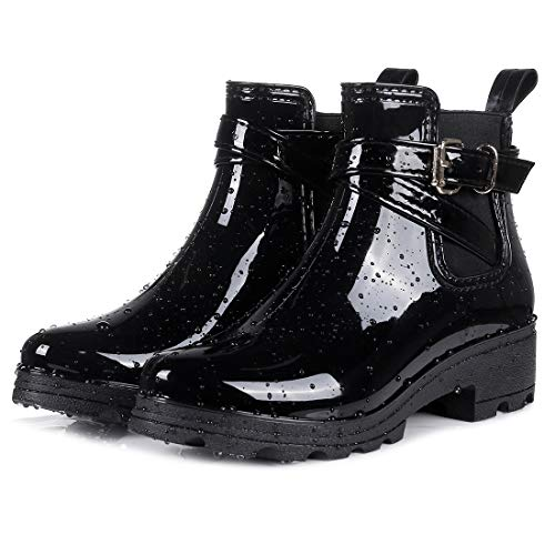 Smiry Women's Short Rain Boots Glossy Waterproof Platform Slip On Ankle Boots Elastic Chelsea Booties Black