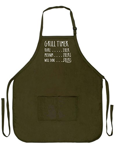 (Funny Aprons Men Grill Timer Beer Count Funny Grilling Apron Two Pocket Man Apron Military Olive Green)