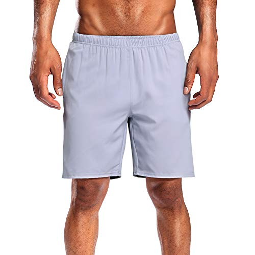 CAMEL CROWN Running Shorts Men Pockets Quick Dry Light Breathable Athletic Shorts for Gym Basketball Workout Active TrainingSilver Grey M 1 ()