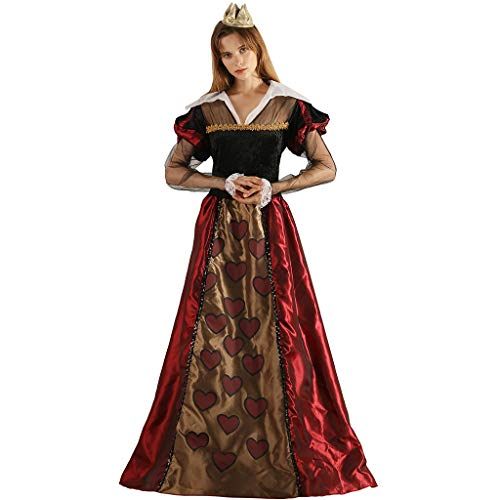 FantastCostumes Women Queen Costume Crown Hearts Fairy Tale Adult Carnival Party Dress]()