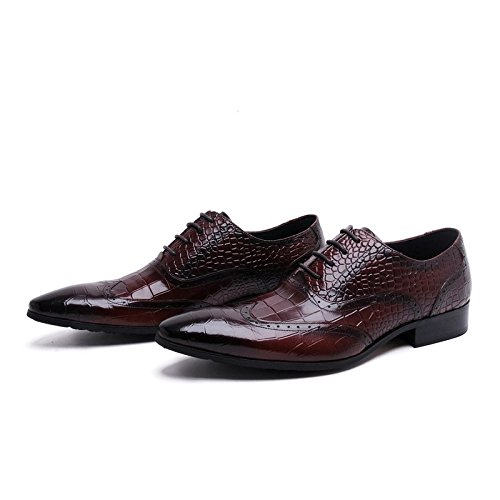 Oxfords Shoes Men's Toe Wingtip Ambossed Red Santimon Leather Pointed pwvxnq