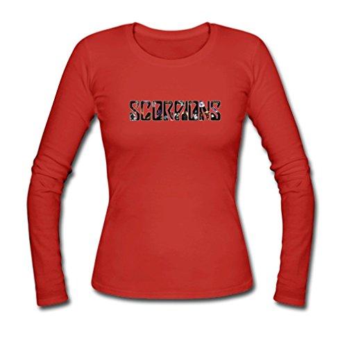 GOOGSDDIY Womens Heavy Metal Band Scorpion Long Sleeve T-Shirt X-Large Red