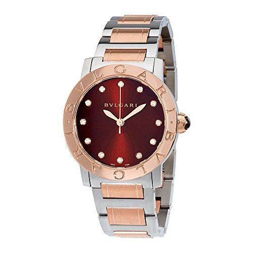 Bvlgari BVLGARI Brown Lacquered Diamond Dial Stainless Steel & 18k Pink Gold 33mm Ladies Watch 102157