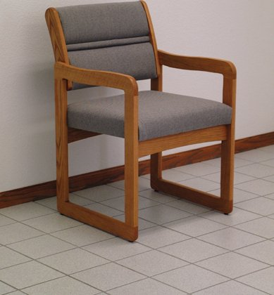 (Wooden Mallet DW1-1 Dakota Wave Oak Sled Base Chair w/Arms in Medium Oak Stain & Charcoal Gray Fabric from ABC Office)