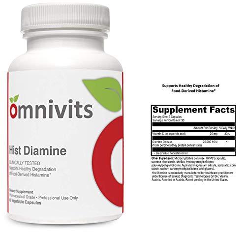 Omnivits Hist Diamine | Histamine Blocker | Diamine Oxidase Enzyme Formula with Vitamin C | 20,000 HDU of DAO | Histamine Intolerance | 60 Vegetarian Capsules