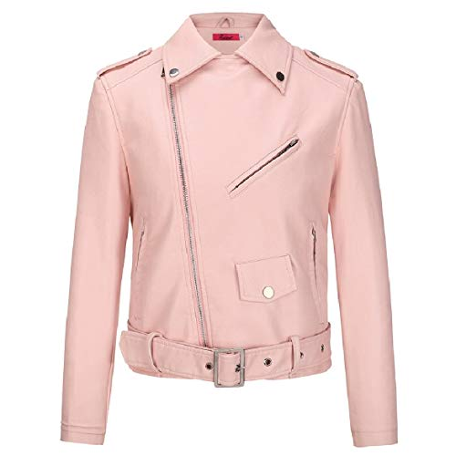 Howme Down Mini Faux Color Coat Zipper Turn Leather Pink Solid Slim Fitted Women Collar rxUSqr0