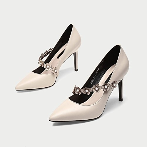 Stiletto Wedding Toe Party Straps Court Shoes Pointed Beige Pumps Heels Evening Prom Dress High Shoes Office Work Women's w5OpPCq5