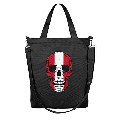 Skull Peru flag Canvas Shoulder Unisex Craft Shopping Bags black Very durable