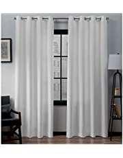 Exclusive Home Curtains Loha Grommet Top Panel Pair, Winter White , 52x96, 2 Piece