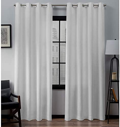 Exclusive Home Curtains Loha Linen Grommet Top Curtain Panel Pair, 54×96, Winter White