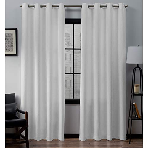 Exclusive Home Curtains Loha Linen Window Curtain Panel Pair with Grommet Top, 54x96, Winter White, 2 Piece