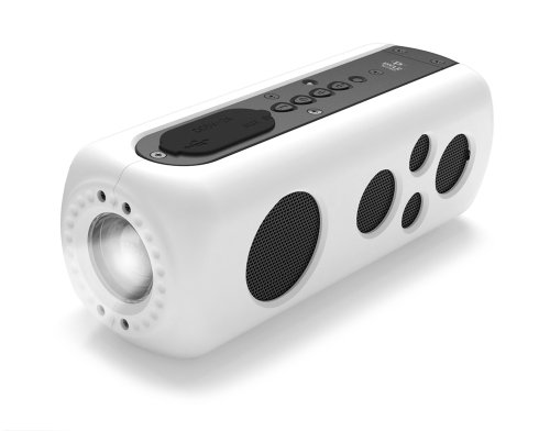 Pyle Waterproof Bluetooth Portable Speaker with Flashlight - Hand Crank Charger - Camping Speaker White (PWPBT75WT) by Pyle