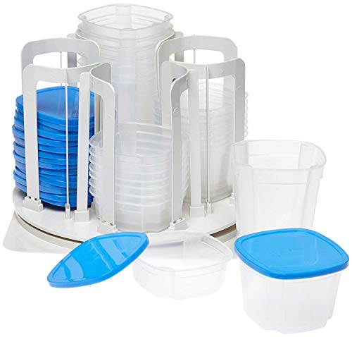 Smart Spin F Food Storage & Organization System-Microwave & Dishwasher Safe-BPA Free, 1, Blue (Best Food Storage System)