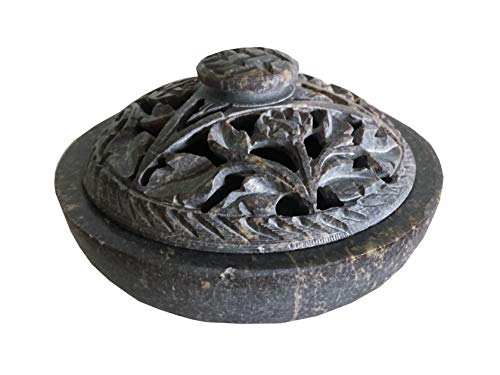 NAI Soapstone/Stone Incense Burner Bowl, Pot, Jar for Cones, Sticks, Resins or Charcoal-Flower Pattern J825
