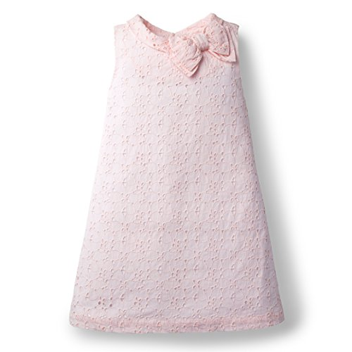 Hope & Henry Girls Rose Eyelet Shift Dress Made With Organic Cotton (Pink Eyelet Dress)