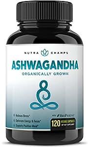 Organic Ashwagandha 1200mg - 120 Vegan Capsules w/ BioPerine - Premium Root Powder Supplement for Stress Relief, Anxiety Support & Mood - Certified Organic Ashwaganda w/ Black Pepper Extract