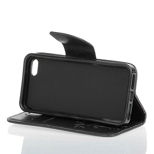 Für Apple iPhone 5 5G 5S / iPhone SE (4 Zoll) Tasche ZeWoo® PU Ledertasche Hülle Leder Schutzhülle Case Cover - HX002 / Schwarz