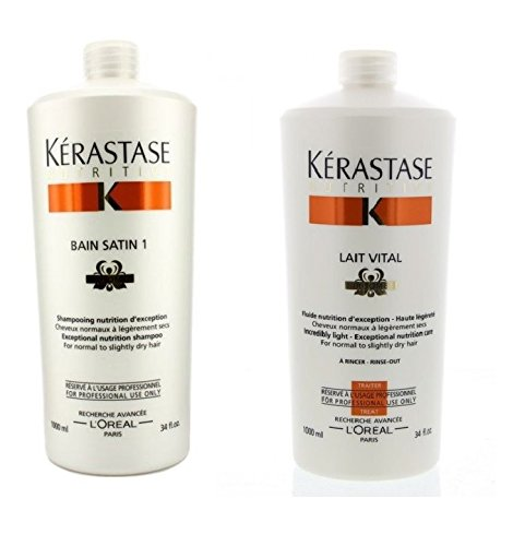 Kerastase Bain Satin 1 Shampoo and Lait Vital Conditioner 34oz Duo