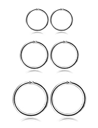 Thunaraz 3 Pair Stainless Steel 16G Sleeper Earrings Septum Clicker Nose Lip Ring Body Piercing