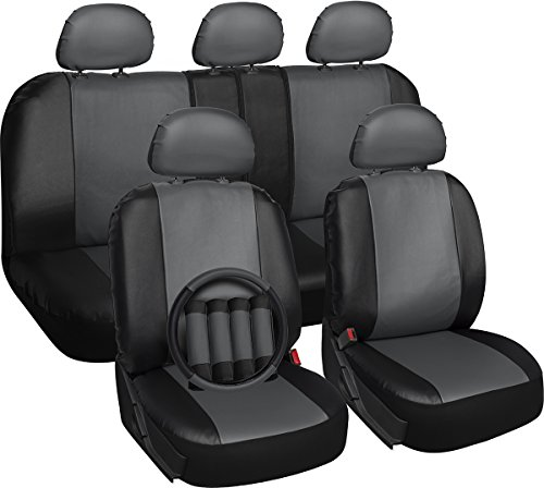 Nissan Frontier Leather Seats - OxGord 17pc Set PU Leather Car Seat Cover Set - Airbag - Front Low Back Buckets - Universal Fit for Car, Truck, SUV, Van - Steering Wheel Cover and Seat Belt Cushion