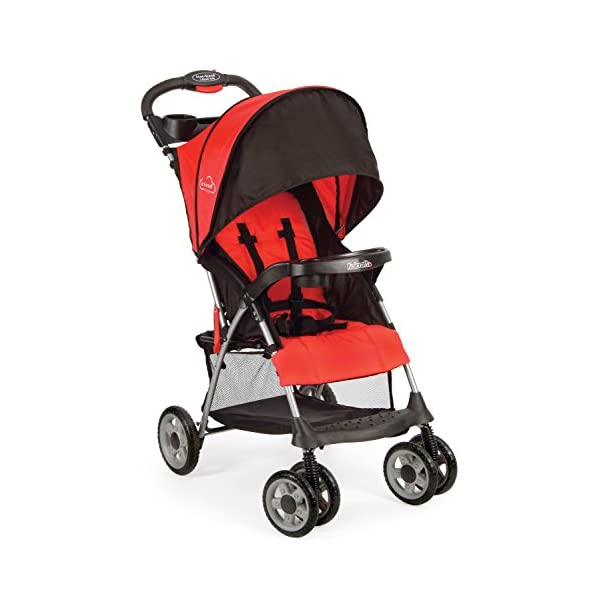41bxI5LBguL. SS600  - Kolcraft Cloud Plus Lightweight Easy Fold Compact Travel Baby Stroller, Fire Red
