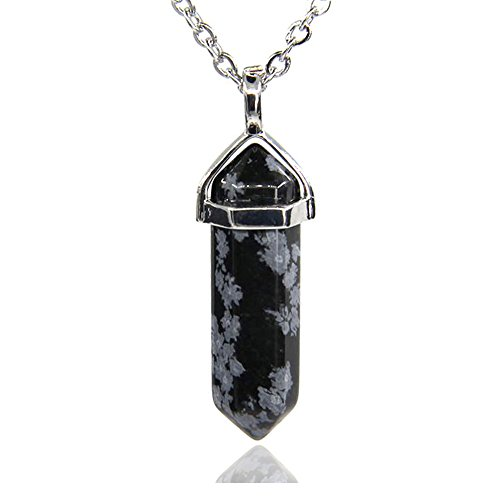Snowflake Obsidian Gemstone Hexagonal Pointed Reiki Chakra Pendant Necklace 20