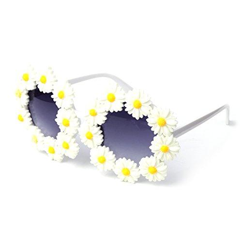 JAGENIE Round Sunglasses Rhinestone Flower Vintage Retro Beach Party Women Mirror Glass -