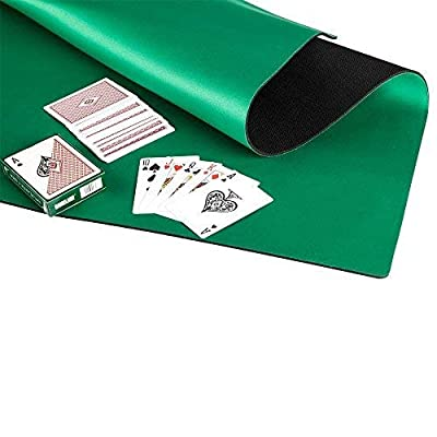 GAMELAND Anti Slip and Noise Reduction Rubber Foam Mahjong Mat Poker Mat Card Game Board Game Table Cover 32.6 x 32.6 inches- Green: Toys & Games