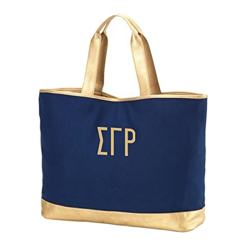 Greekgear Sigma Gamma Rho Cabana Large Tote Bag Navy Blue