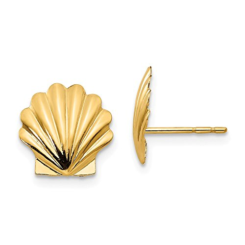 10mm Scalloped Seashell Post Earrings in 14k Yellow Gold