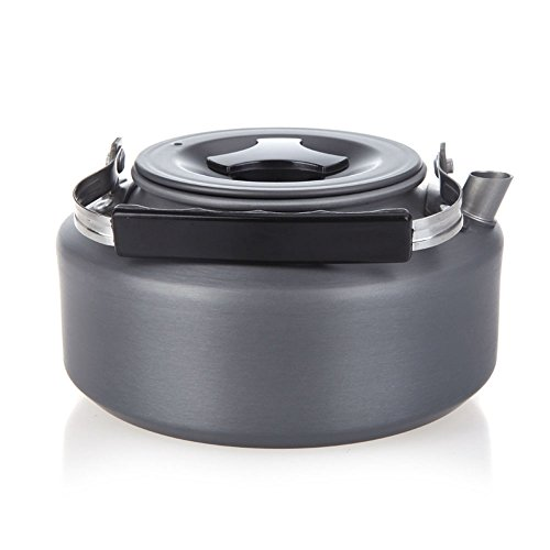 Efanr Portable Ultra-light Outdoor 1.1 L Camping Teapot Aluminum Hiking Kettle Coffee Pot Teapot Kettle Compact with Silicon Handle Outdoor Picnic Cooking Utensils