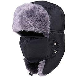 Lurrose - Gorro de Invierno con Solapas para los oídos, Sombrero de Ushanka, Gorro de esquí, Gorro de Nieve, máscara para Hombres y Mujeres (Negro)