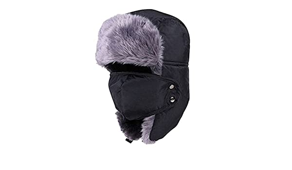 bec69a1dc12 Amazon.com  Lurrose Winter Hat with Ear Flaps Ushanka Hat Skiing Hats  Trapper Hat Snow Hat mask for Men Women (Black)  Clothing