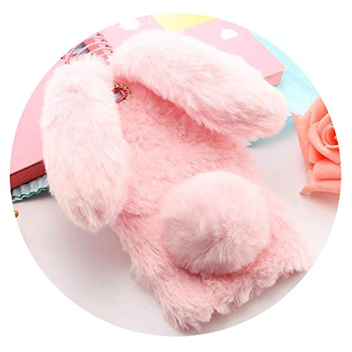 3D Cute Rabbit Hairy Warm Fur Bling Rhinestone Plush Bunny Cover Case for iPhone X 10 4 5 5S SE 6 6S 7 8 Plus Soft TPU Shell,Light Grey,for iPhone 6 6s Plus,Pink,foriphone66s