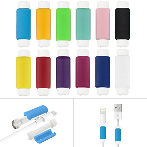 Data Cable Saver(12 Packs),BUTEFO 3.5cm Assorted Colorful Charging Cable Protector Saver Lightning Saver Protective For iPhone 5 ,5s ,6 ,6S, 6 Plus (12 colors contained)